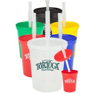 16 oz Plastic Stadium Cups with Lid and Straw
